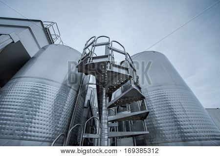 big industrial metal container for wine production
