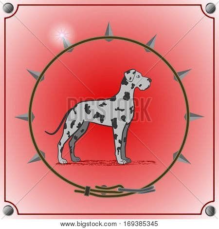 dog breed mastiff on a red background. Frame in the form  of the collar