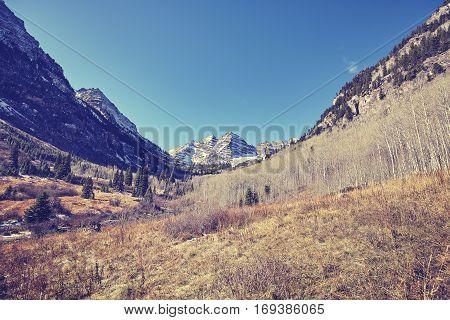 Vintage Toned Maroon Bells Mountain Landscape.