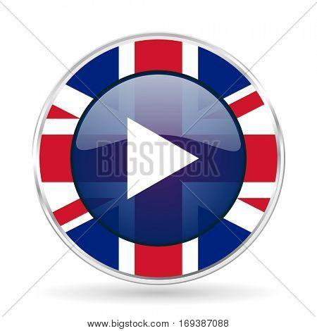 play british design icon - round silver metallic border button with Great Britain flag