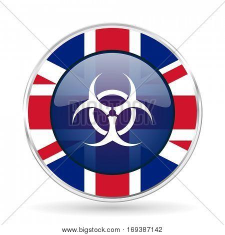 biohazard british design icon - round silver metallic border button with Great Britain flag