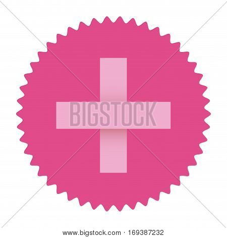 cross pink symbol of breast cancer in round frame vector illustration