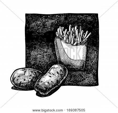 Vector illustration of a potato and french fries in old fashioned etched
