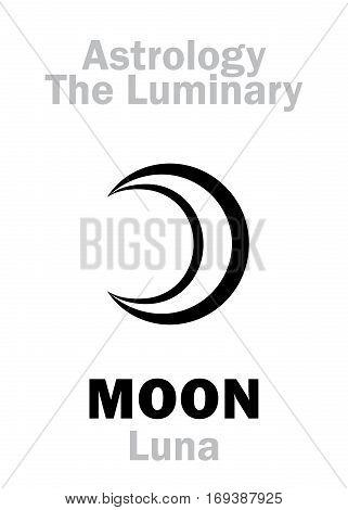 Astrology Alphabet: MOON (Luna) The Luminary. Hieroglyphics character sign (single symbol).