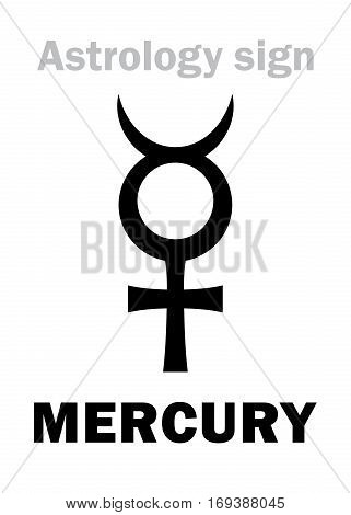 Astrology Alphabet: MERCURY (Caduceus) classic minor mental planet. Hieroglyphics character sign (single symbol).