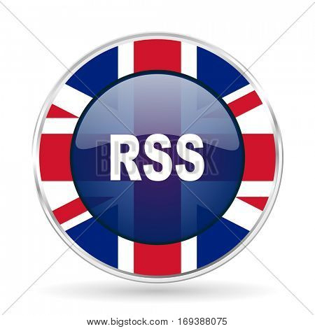 rss british design icon - round silver metallic border button with Great Britain flag