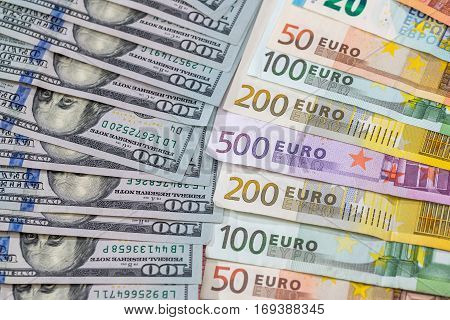 Many Dollar And Euro Banknote As Background.