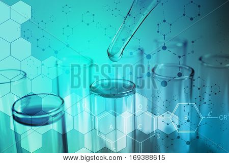Health care concept. Pipette with fluid and test tubes, blue tone