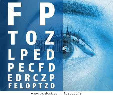 Ophthalmologist concept. Eyesight test chart and woman's eye, closeup