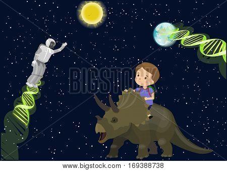 Boy Child School Ride Triceratops Dinosaur Dream In Space Meet Alien Robot Dna. Stars Dark Sky Sun E