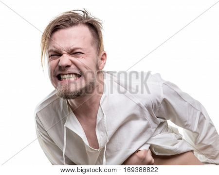 Yong man with pain on face on white background