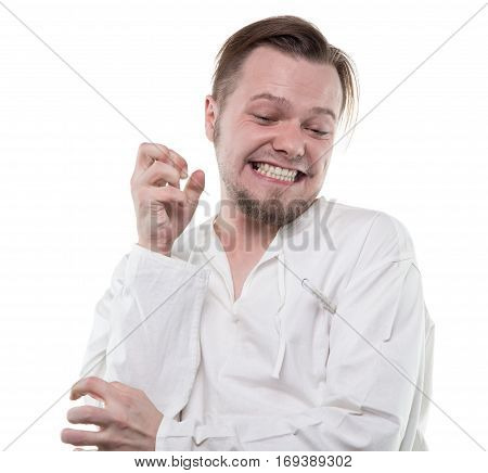Mad man with thermometer on white background