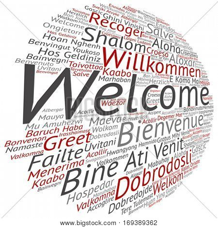 Vector concept conceptual abstract welcome greeting international word cloud in different languages or multilingual isolated metaphor to world, foreign, worldwide, travel, translate, vacation tourism
