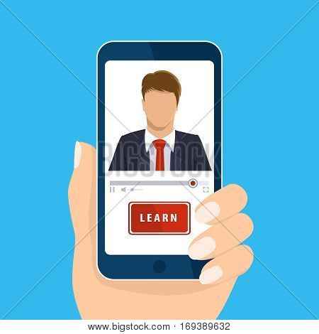 Online learning. Hand holding mobile isolated on blue. Vector vertical smart phone screen. E-learning, webinar, presentation concept. Teacher businessman, learn button. Flat design for web site, app