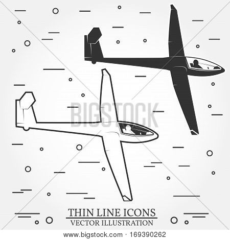 Set of glider silhouette icons. Soaring planes icons for family vacation, activity or travel. For logo design, patches, seal, logo or badges. Vector illustration.