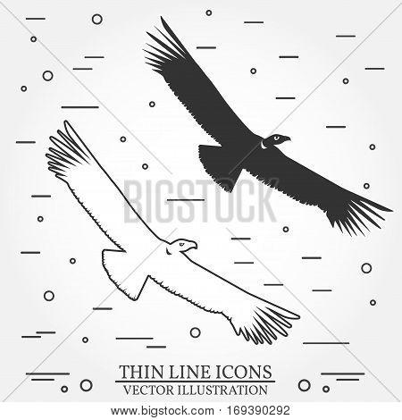 Set of eagles silhouette icons. For logo design, patches, seal, logo or badges. Vector illustration. Concept for shirt, print, seal, overlay or stamp.