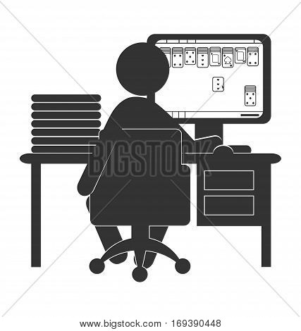 Flat computer icon with card game isolated on white background