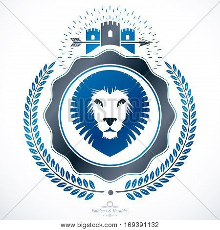 Heraldic coat of arms decorative emblem composed with medieval castle and lion head illustration
