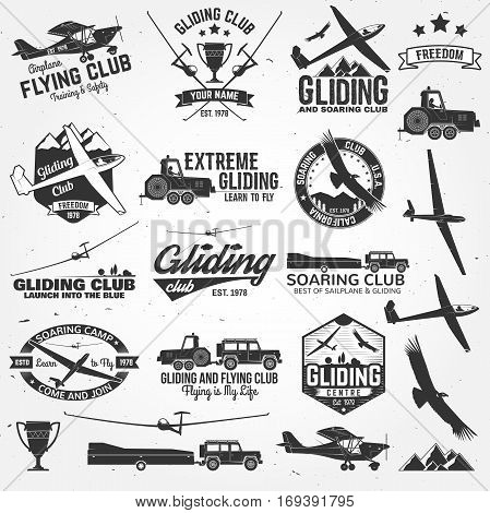 Soaring club retro badges and design elements. Vector illustration. Gliding club design. Concept for shirt, print, seal or stamp. Family vacation, activity or travel.
