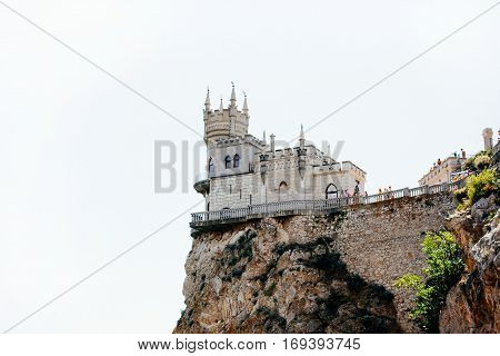 Crimea Yalta Swallow's Nest Sea city landmark restaurant rock cliffs restaurant on the cliff castle on the rock
