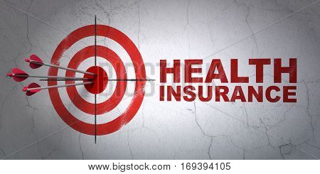 Success Insurance concept: arrows hitting the center of target, Red Health Insurance on wall background, 3D rendering