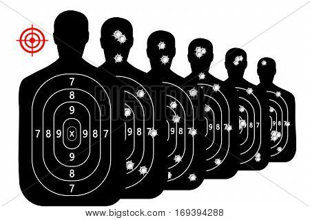 set shot target shooting range background vector bullet holes
