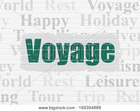 Travel concept: Painted green text Voyage on White Brick wall background with  Tag Cloud
