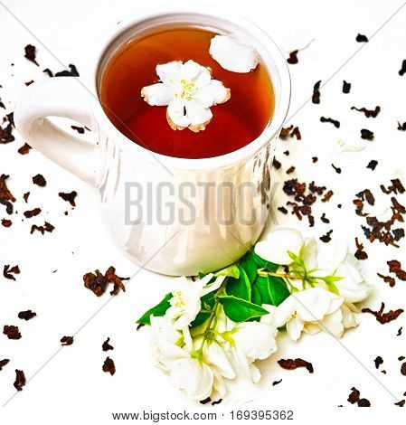 Tea Cup And Dried And Fresh Fragrant Jasmine Flowers
