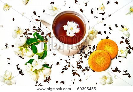 Tea Cup With Dried And Fresh Jasmine Flowers And Cookie