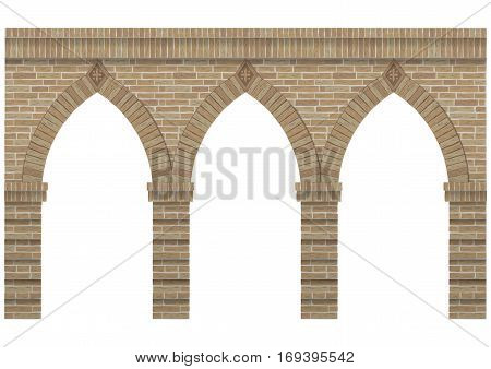 Vintage arcade of the masonry. Wall and facade of the old brick. Vector graphics