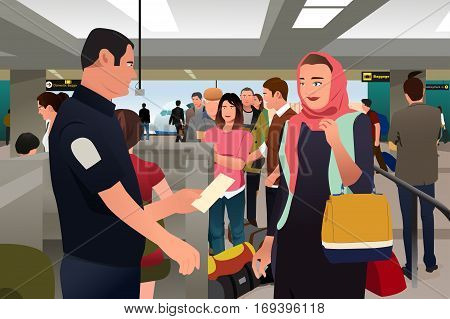 A vector illustration of People Being Checked by Custom in the Airport