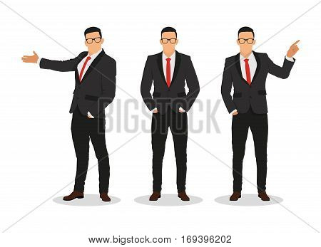 Businessman in various poses, emotions -stock vector..