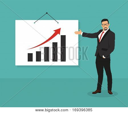 Man with pointer standing at the blackboard with graphs curves and infographics - stock vector.