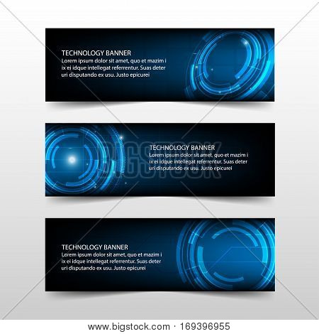 Blue abstract technology corporate business banner template horizontal advertising business banner layout template flat design set clean abstract cover header background for website design