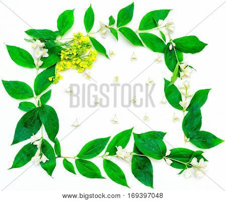 Wreath With Jasmine Flowers And Yellow Field Flowers