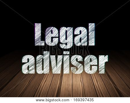 Law concept: Glowing text Legal Adviser in grunge dark room with Wooden Floor, black background