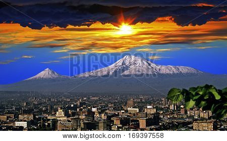 A beautiful view of Mountain Ararat and Yerevan city during the day