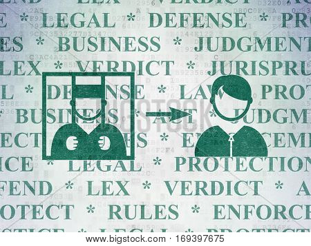 Law concept: Painted green Criminal Freed icon on Digital Data Paper background with  Tag Cloud