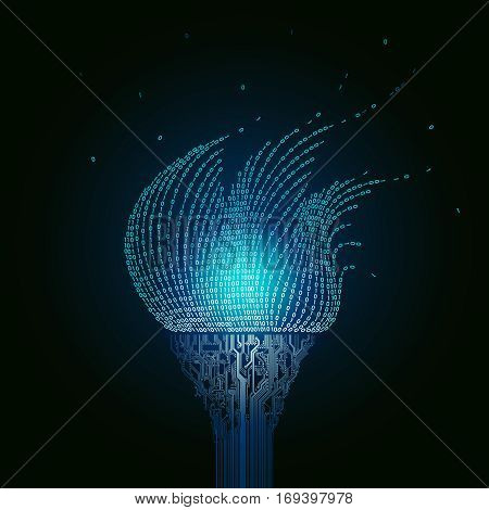 A burning blue torch, consists of  printed circuit boards, the flame from the binary code. Artifact from the abstract of cyberspace