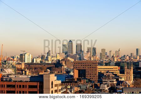Sunset Over Financial District Cityscape Of London