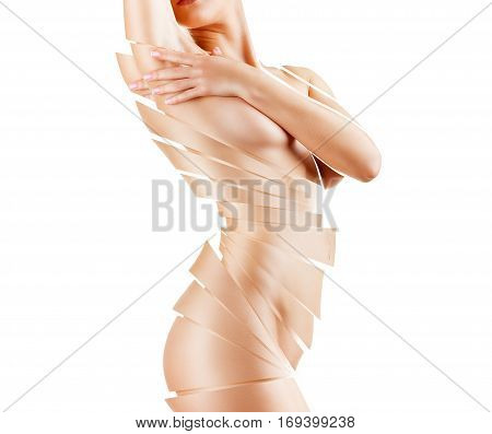 Slender figure of a woman with perfect skin isolated on white background