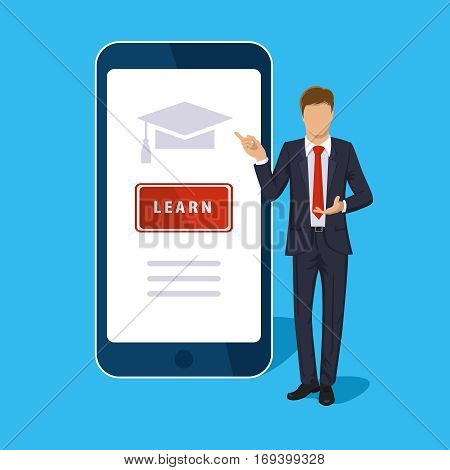Online learning. Mobile isolated on blue. Vector vertical smart phone screen. E-learning, webinar, presentation concept. Man teacher, businessman, learn button. Flat design for web site, mobile app