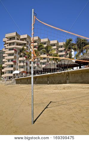 Volleyball net on the beach of a Mexican resort