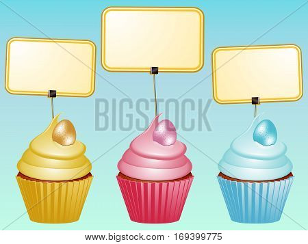 Three Cupcake with Easter Eggs and Blank Labels Over Blue Background