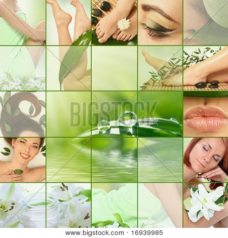 green spa collage