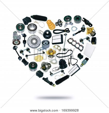 Heart spare auto parts for car on white background. Set with many isolated items for shop or aftermarket, OEM
