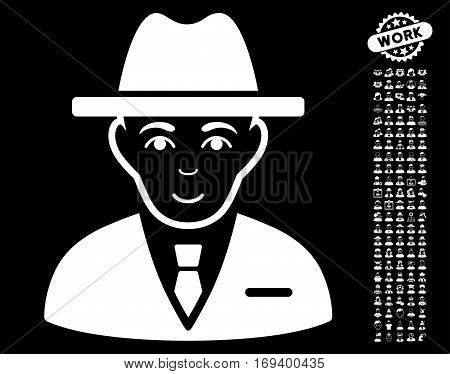 Agent icon with bonus human symbols. Vector illustration style is flat iconic white symbols on black background.