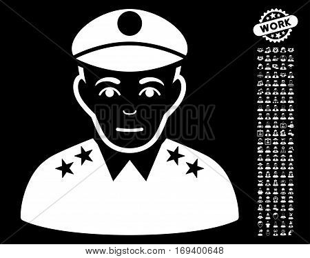 Army General pictograph with bonus avatar pictograms. Vector illustration style is flat iconic white symbols on black background.