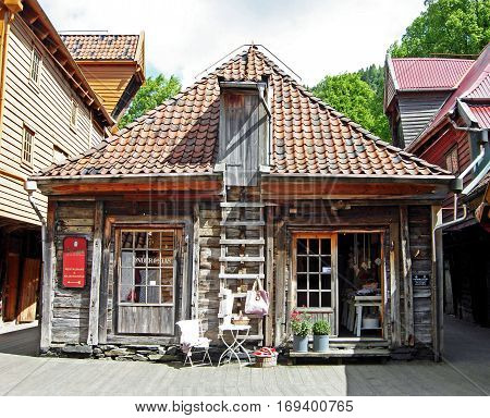 Bergen, Norway - June 8, 2009: Historic wooden houses in the old town Bryggen in Bergen (Norway).