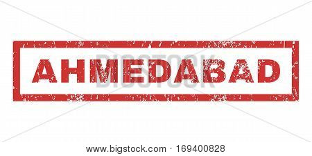 Ahmedabad text rubber seal stamp watermark. Caption inside rectangular banner with grunge design and dirty texture. Horizontal vector red ink sign on a white background.